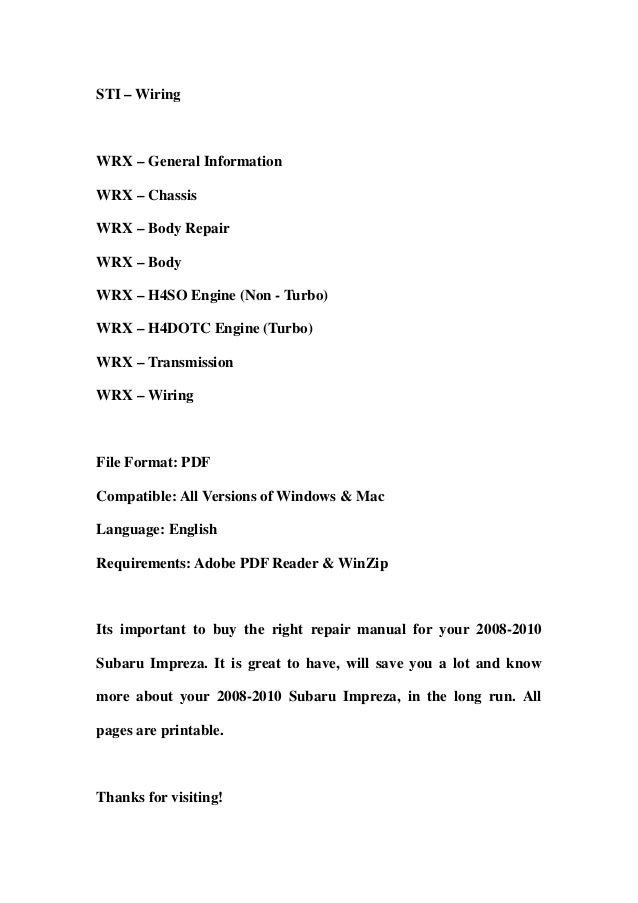 2010 subaru wrx service manual