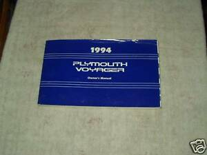1997 plymouth voyager owners manual
