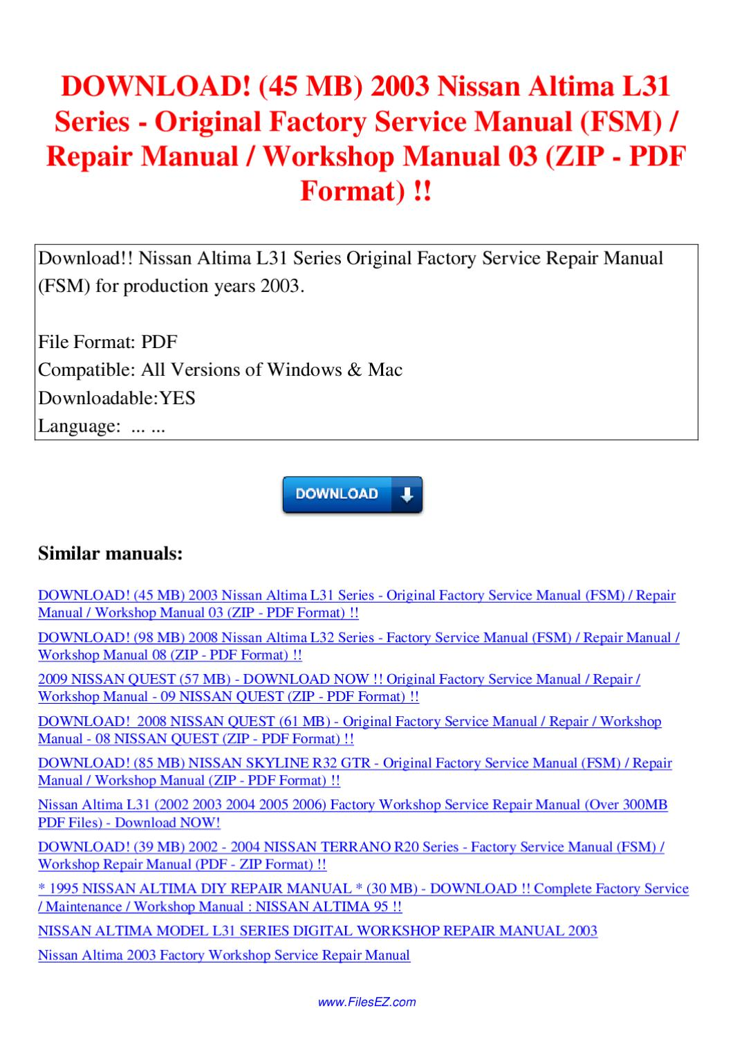 2003 nissan altima factory service manual