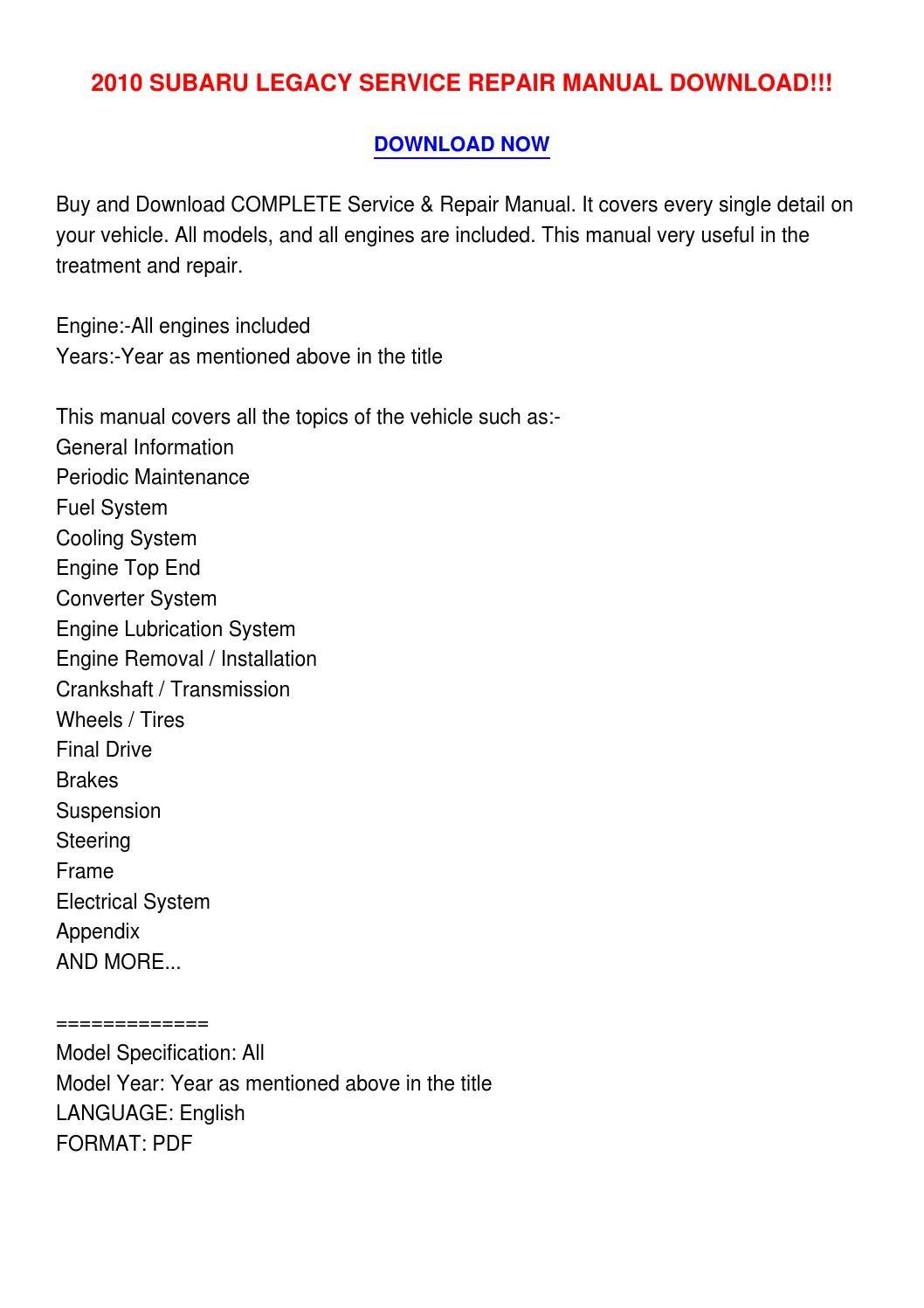 2010 subaru legacy service manual