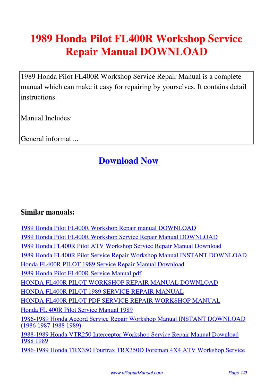 2016 honda pilot service manual