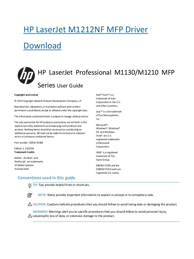 hp laserjet m1212nf mfp owners manual