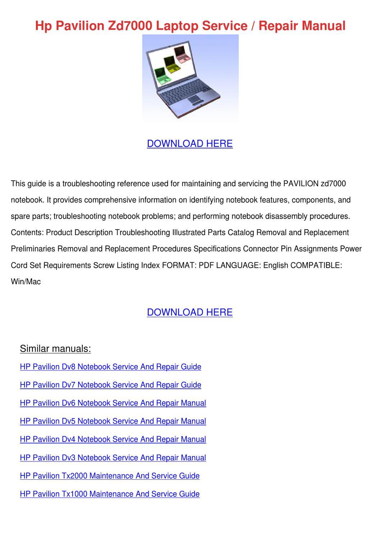 hp pavilion dv8000 service manual