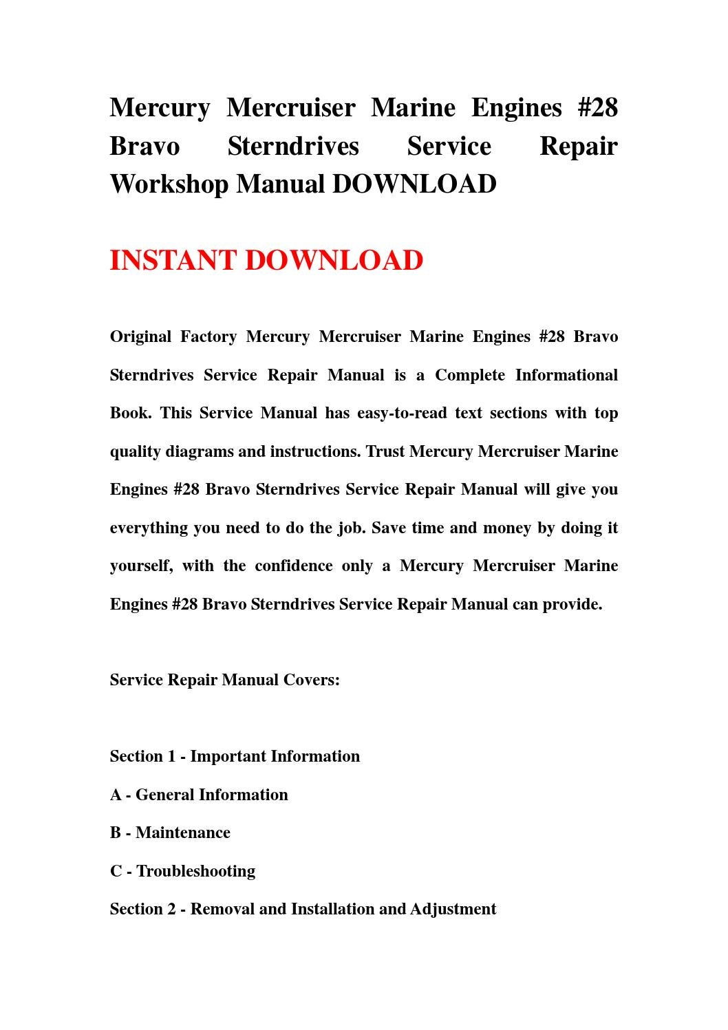 mercruiser bravo one service manual
