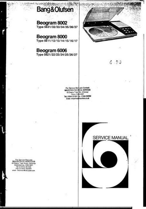 bang and olufsen service manuals