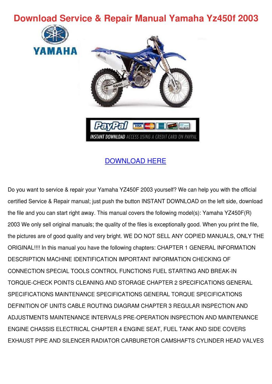 2003 yz450f service manual pdf