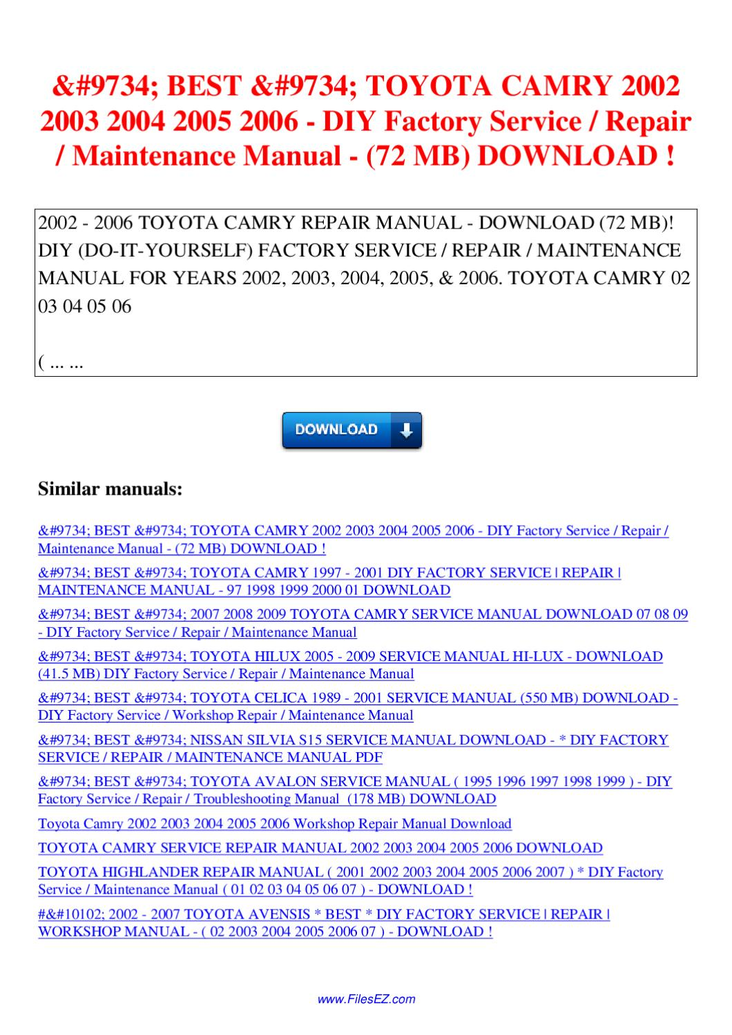 2003 toyota camry service manual download