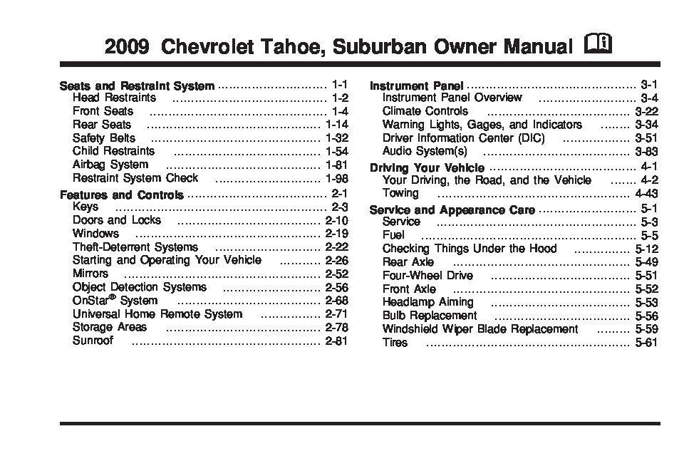 2001 chevy tahoe owners manual pdf