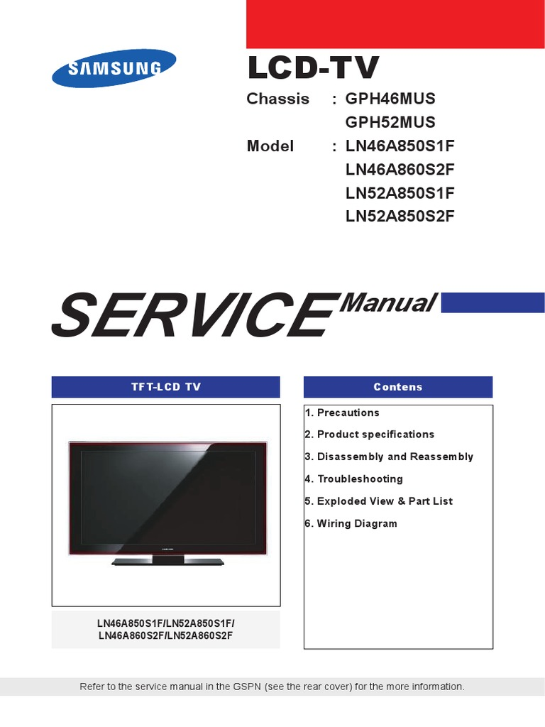 samsung led tv service manual