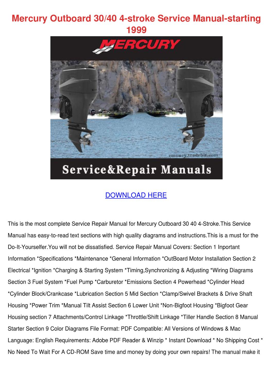 1999 mercury outboard service manual