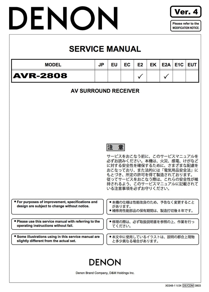 denon avr 2808 service manual
