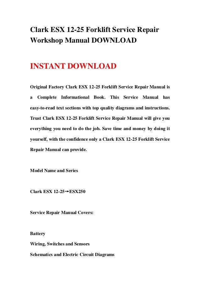 clark gcs 25 forklift service manual