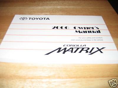 2006 toyota matrix owners manual