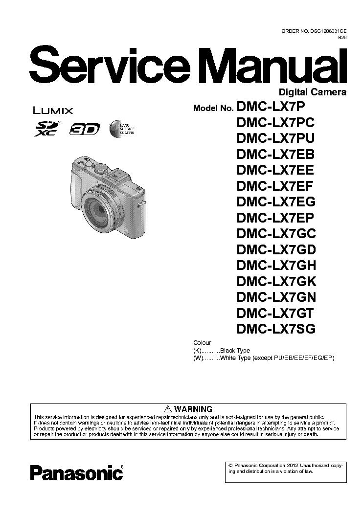 panasonic dmc lx7 user manual