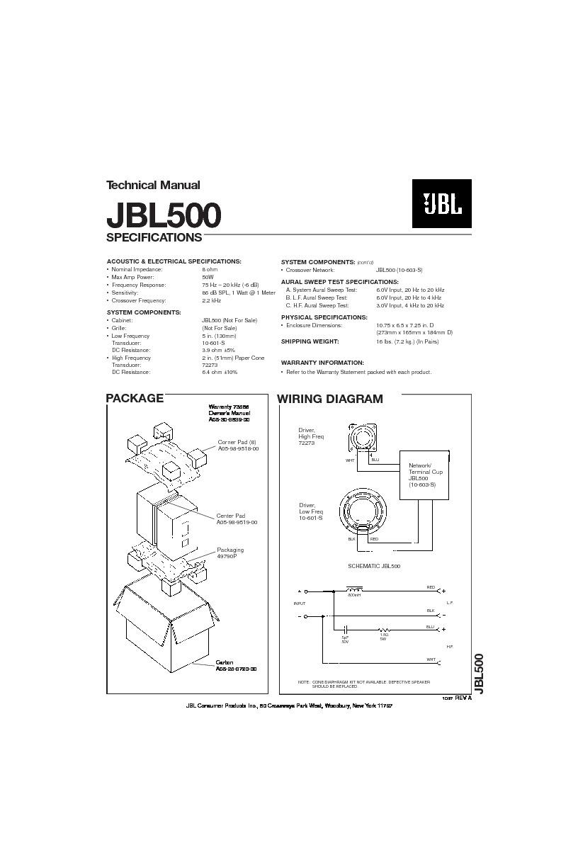 jbl 500 series service manual
