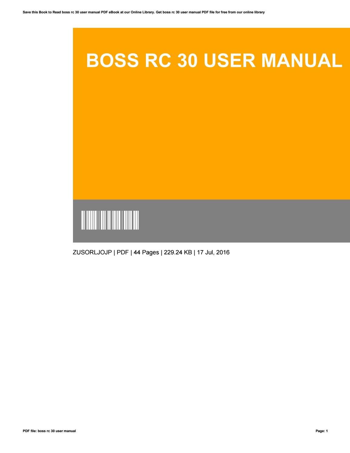 boss rc 3 user manual