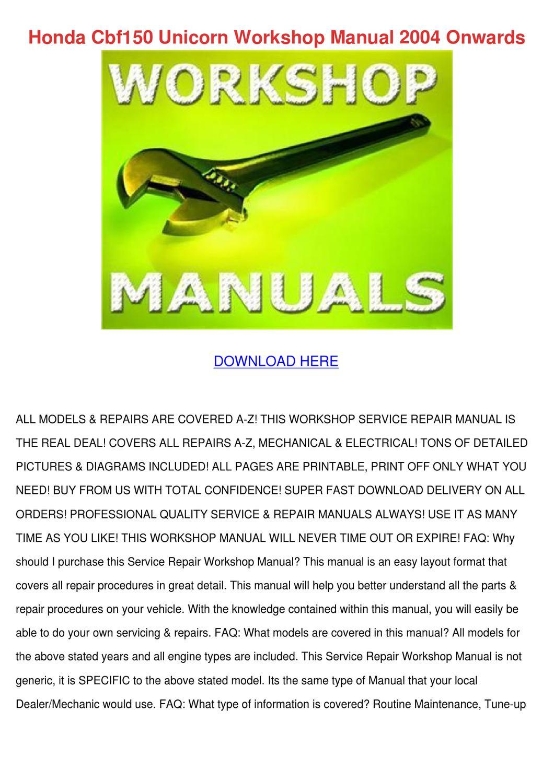 honda unicorn 150 service manual pdf