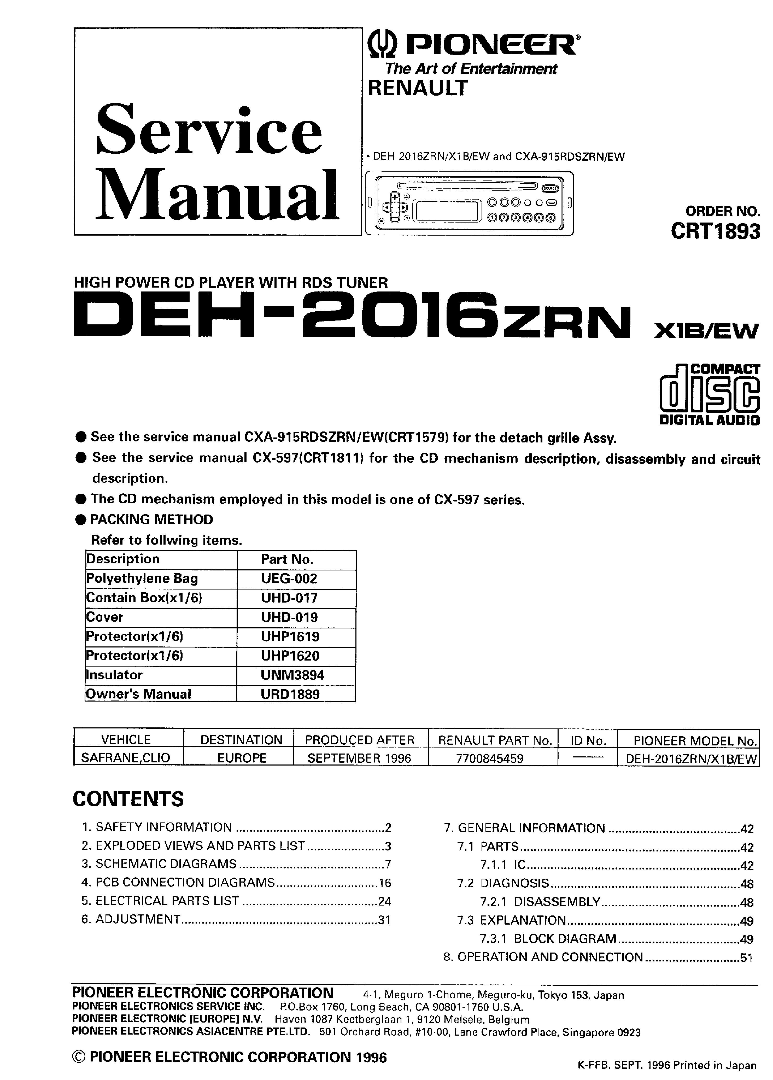 pioneer deh 1100mp owners manual