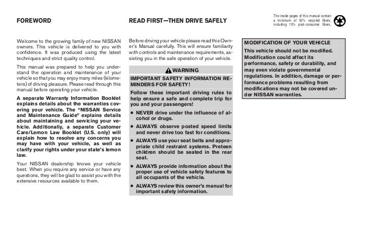 nissan presage 2004 owners manual english