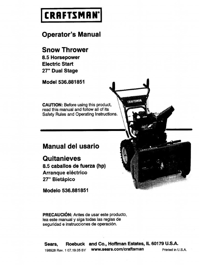 craftsman snowblower owners manual pdf