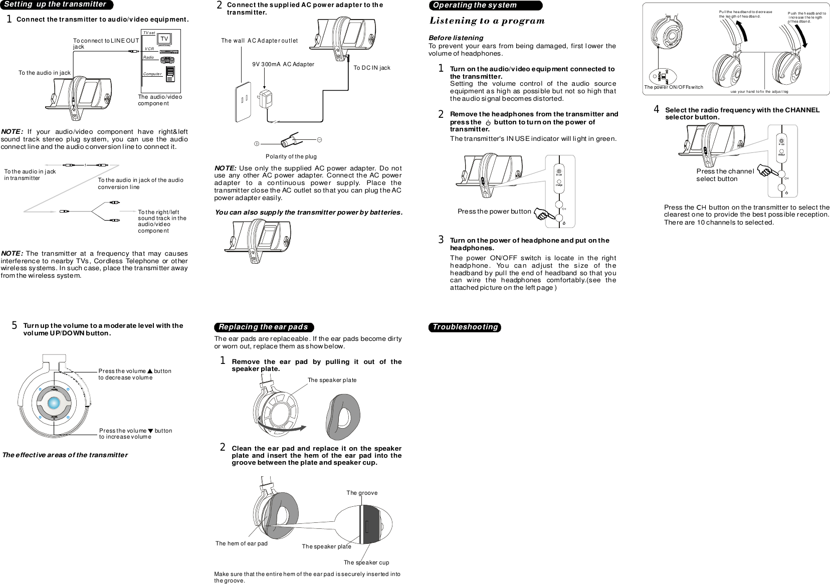 auvio wireless headphones user manual