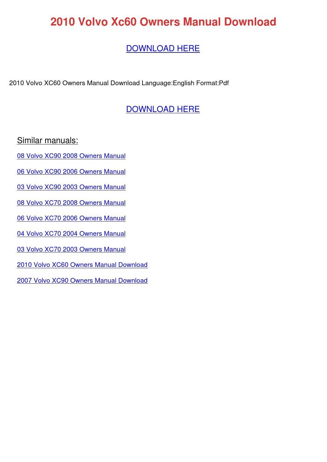 2007 volvo xc90 owners manual pdf