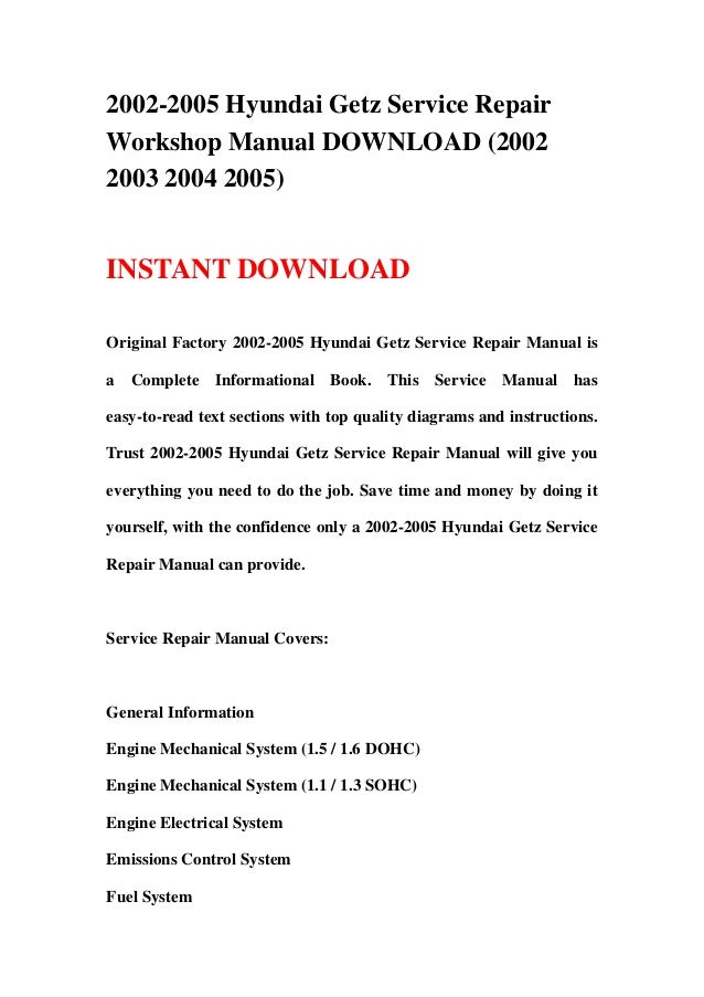 free service repair manual hyundai getz