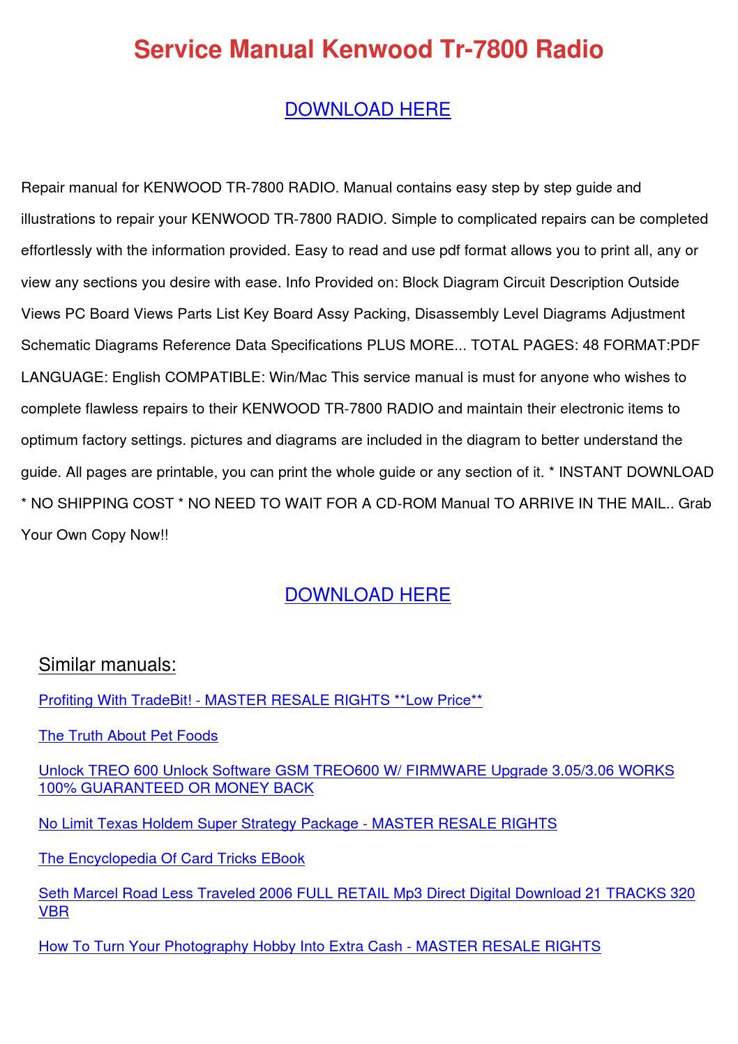 kenwood tr 7800 service manual