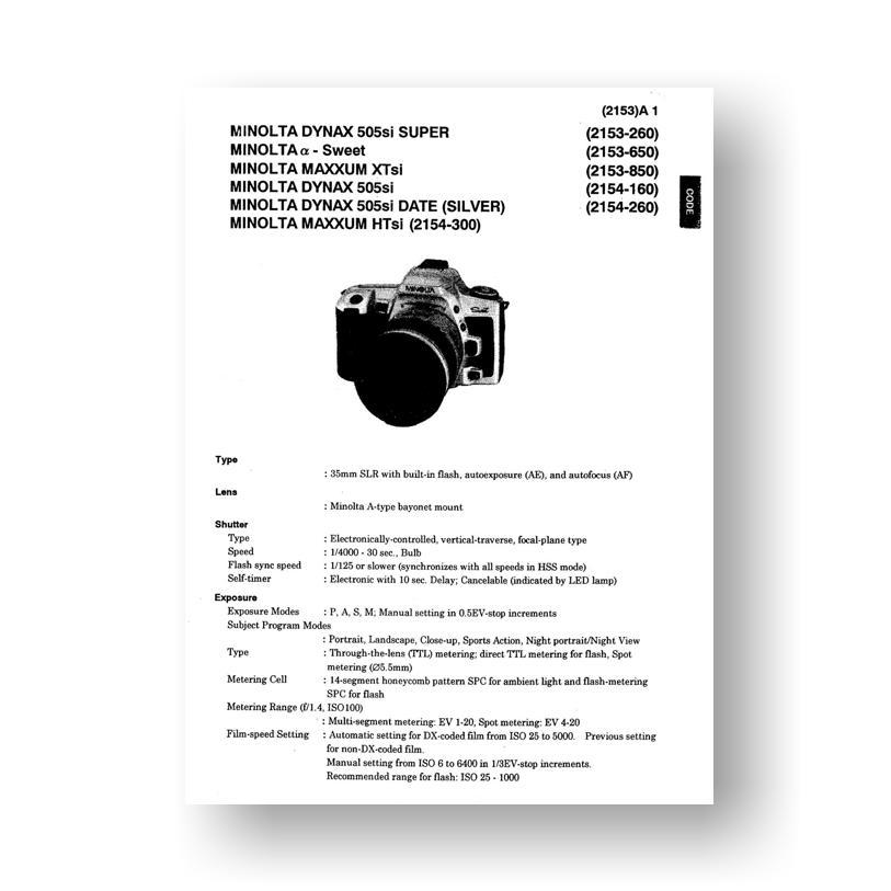 minolta maxxum 450si user manual