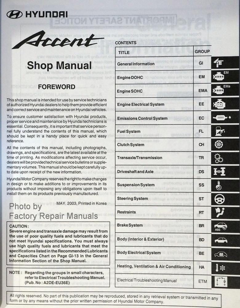2004 hyundai accent owners manual
