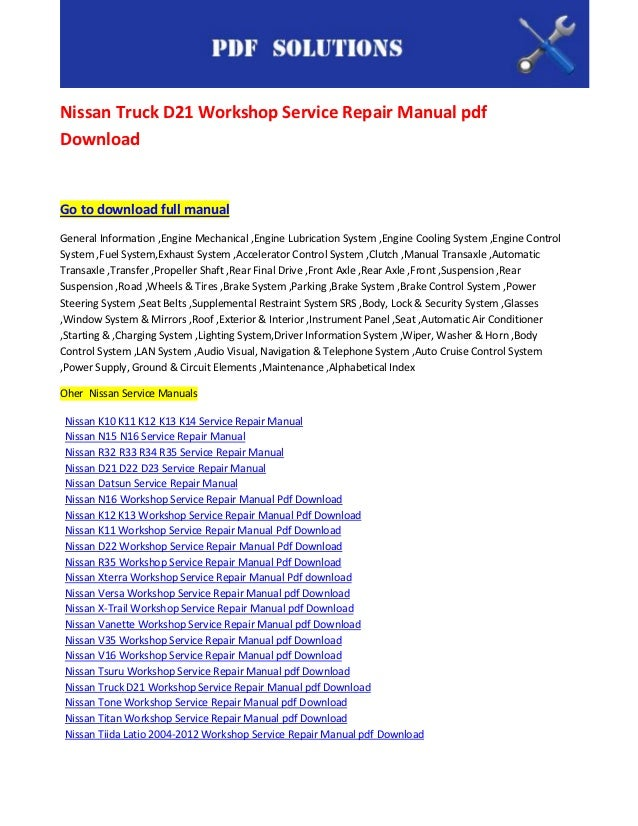 nissan d21 service manual free download