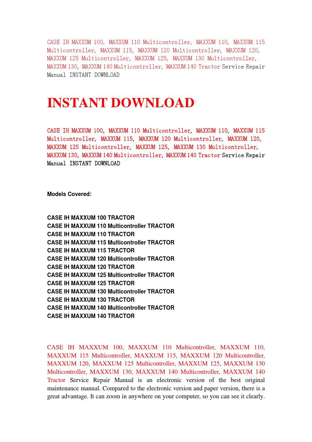 case ih maxxum 125 service manual