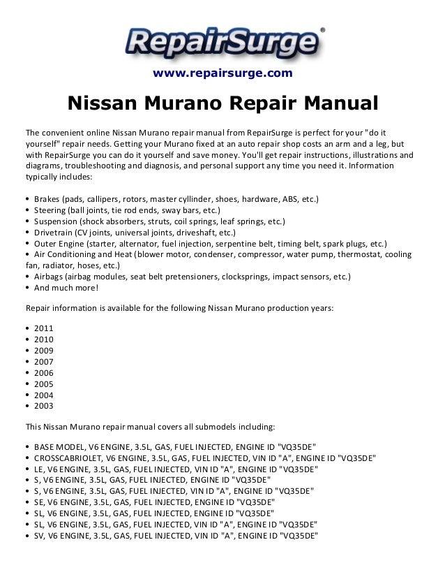 2005 nissan murano owners manual pdf