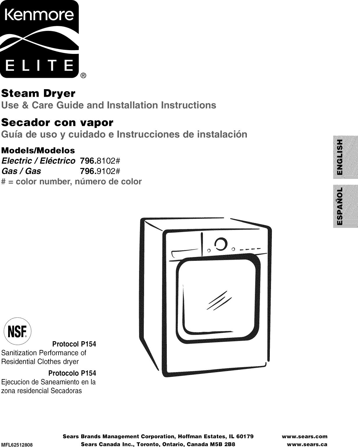 kenmore elite dryer owners manual
