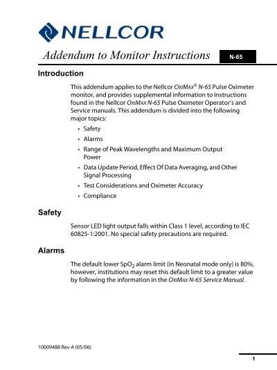 nellcor oximax n 65 service manual