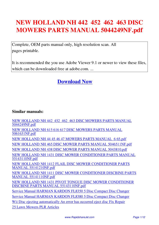 new holland 1411 discbine service manual
