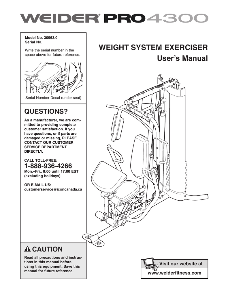 weider pro 4300 owners manual